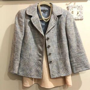 Ann Taylor light blue tweed style blazer Sz 2